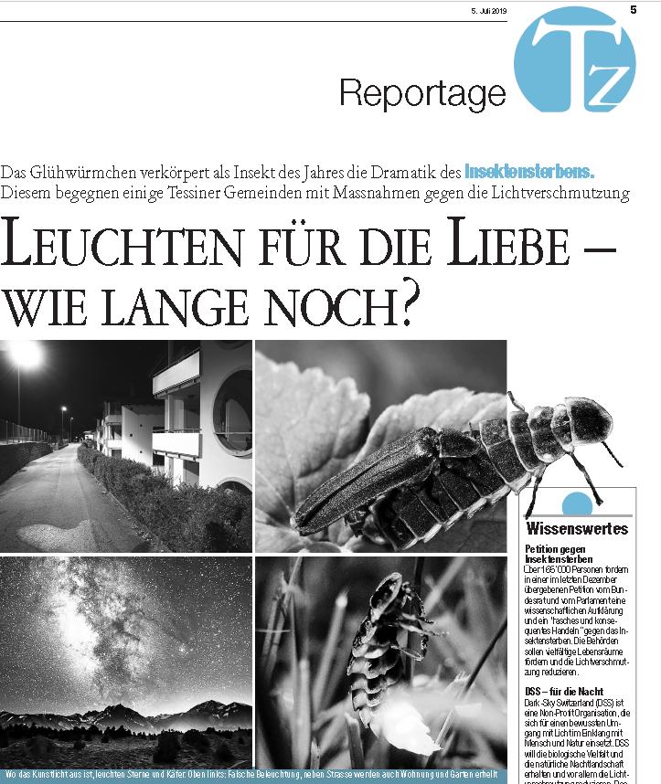 Reportage: Tessiner Zeitung – Leuchten für die liebe- Wie lange noch?