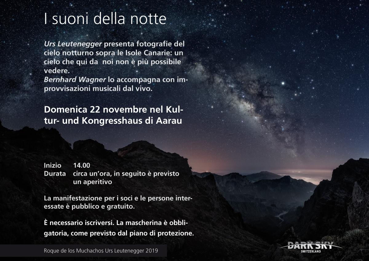 I suoni della notte - Domenica 22 novembre nel Kultur- und Kongresshaus Aarau. 14.00
